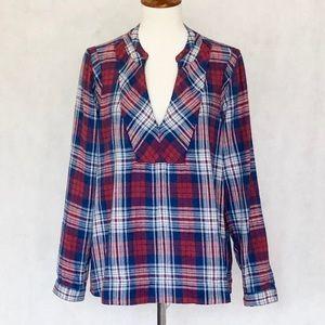Madewell Plaid Long Sleeve Popover Shirt